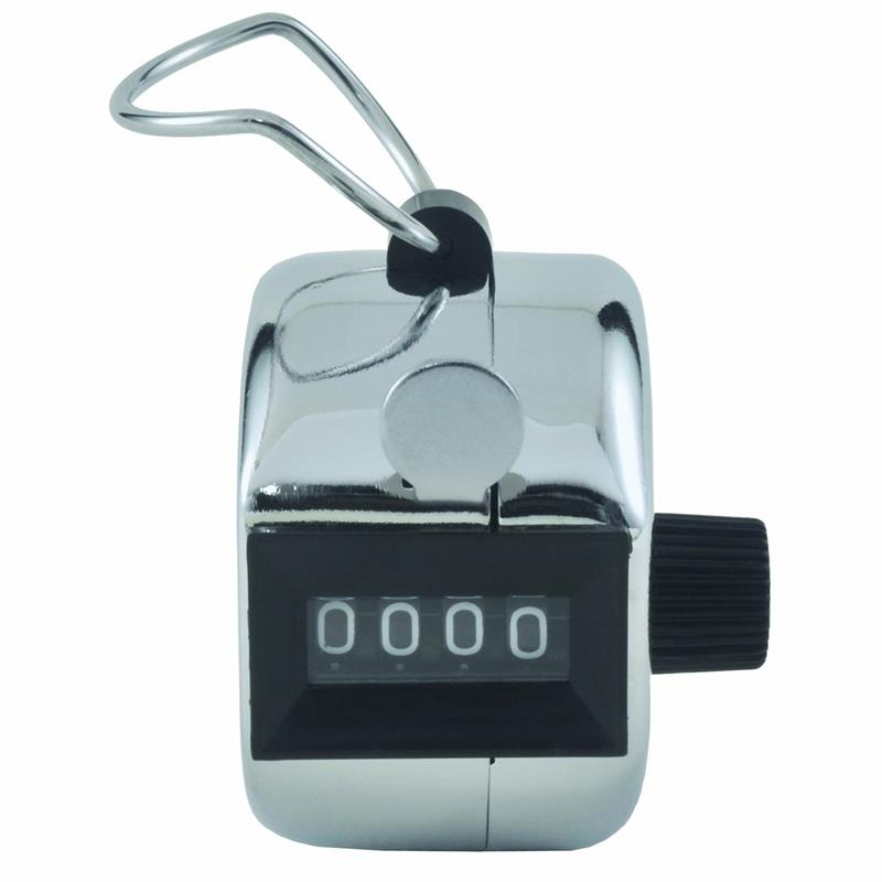 Hand Held Tally Counter 4 Digit Mechanical Palm Clicker Silver 2.75 X 1.5 X 2.75 Inches For Golf Record Score Jogging Sports