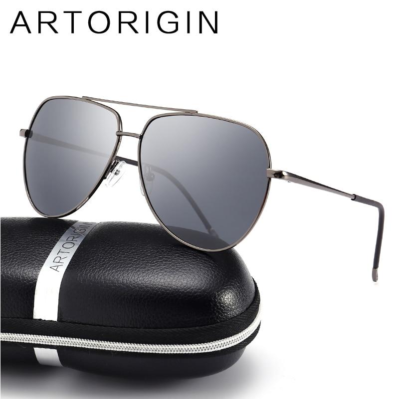 ARTORIGIN Large Men Sunglasses Brand Design Metal Anti-glare Mirror Polarized Glasses Aviation Driving Glasses For Men AT9044