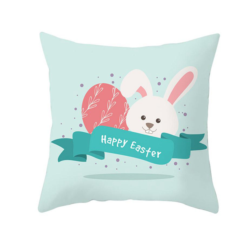 Taoup 45x45cm Happy Easter Decors for Home Cute Blue Bunny Pillowcase Easter Eggs Rabbit 2019 Party Supplies Pillow Case Event in Party DIY Decorations from Home Garden