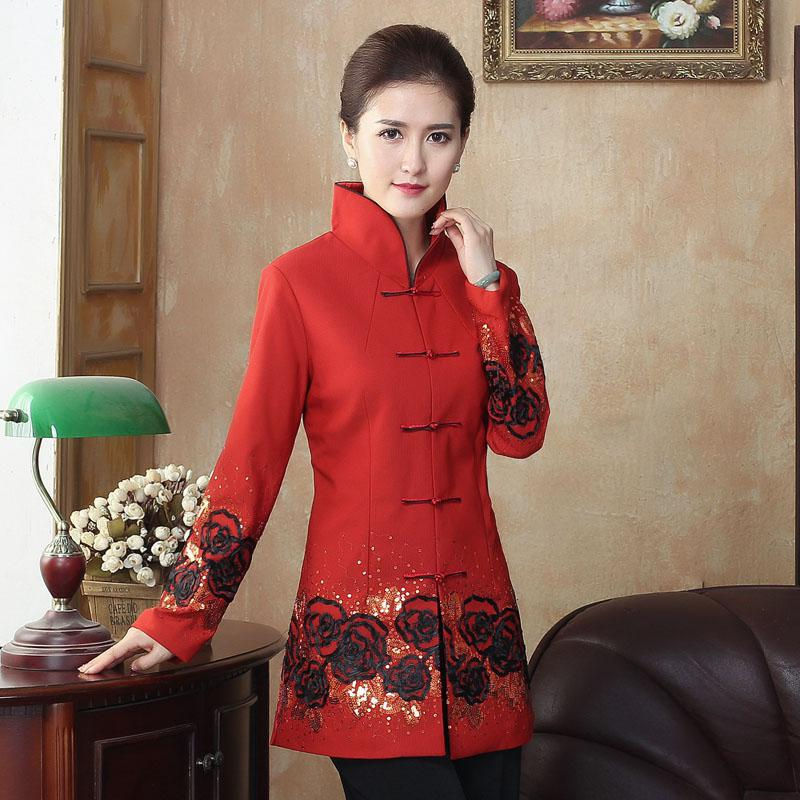 ใหม่มาถึงเย็บปักถักร้อยดอกไม้เสื้อผู้หญิง Vintage Mandarin Collar Plus ขนาดเสื้อแขนยาว L 4XL Handmade ปุ่ม Outwear-ใน แจ็กเก็ตแบบเบสิก จาก เสื้อผ้าสตรี บน AliExpress - 11.11_สิบเอ็ด สิบเอ็ดวันคนโสด 1