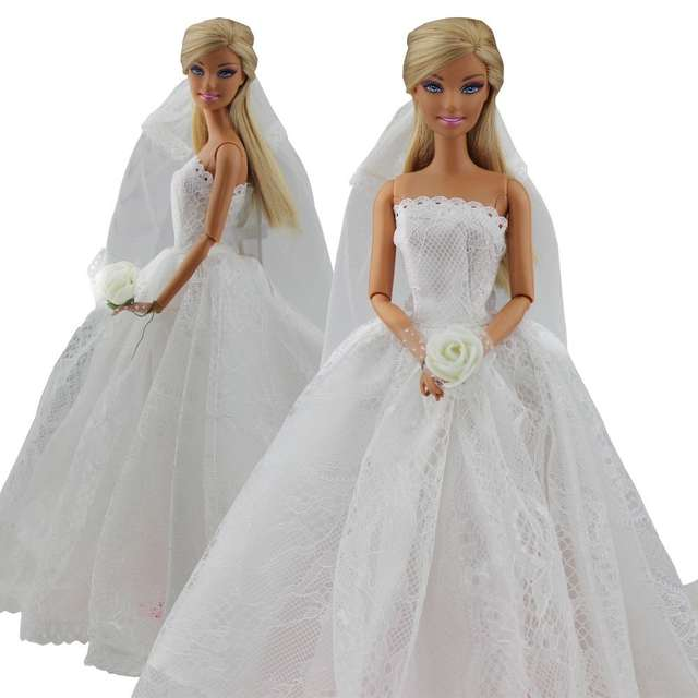 756a99d36e5 Online Shop Elegant White Princess Evening Party Clothes Wears Long Dress  Outfit Set for Doll with Veil Hot Selling