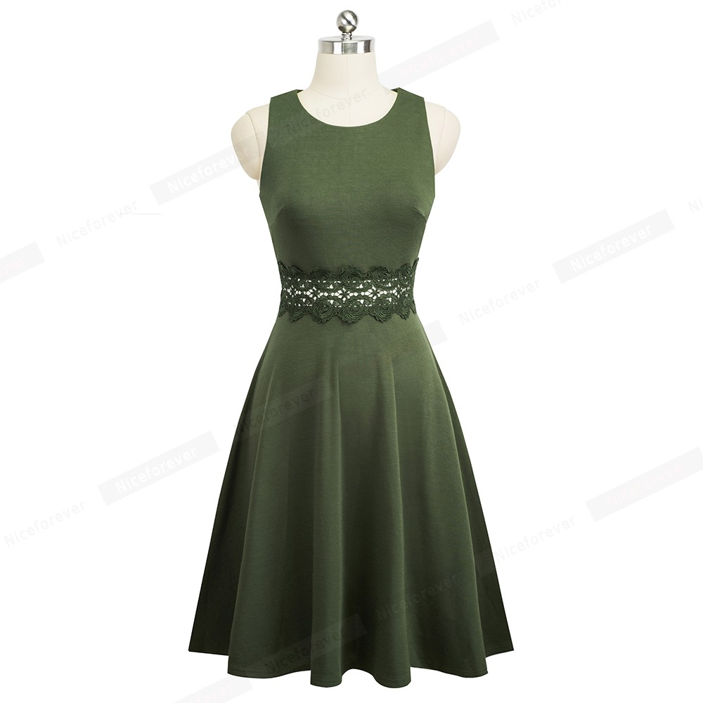 Nice-forever Vintage Elegant Embroidery Floral Lace Patchwork vestidos A-Line Pinup Business Women Party Flare Swing Dress A079 98