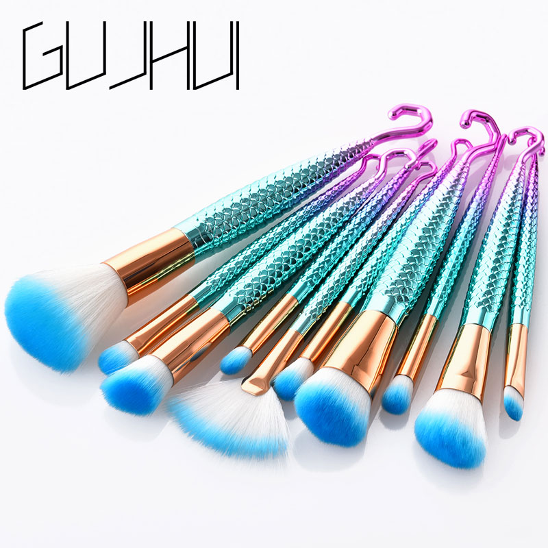 7/10PCS Fish Hook Makeup Brushes Set Foundation Blending Powder Eyeshadow Concealer Blush Cosmetic Beauty Make Up Brush Tool Kit 20 sets makeup brush set foundation liquid powder eyeshadow eyeliner lip concealer blending brush beauty fish cosmetics tools