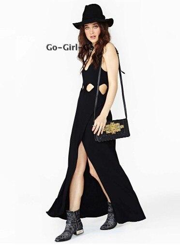 women summer dress 2014 full Nasty gal punk rock fashion cutout one piece  sexy maxi long black casual dress plus size Dresses-in Dresses from Women s  ... 3989be5c6148