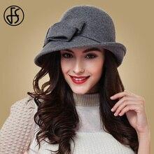 FS אלגנטי Bowknot גבירותיי צמר הרגיש Bowler שחור אדום פדורה לנשים רחב בציר שולי תקליטונים כנסיית חורף Cloche כובעים