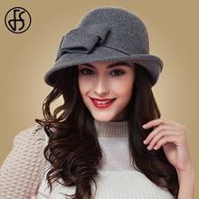 FS 우아한 바느질 숙녀 양모 펠트 중산모 블랙 레드 페도라 모자 여성용 와이드 브림 빈티지 플로피 겨울 교회 Cloche Hats