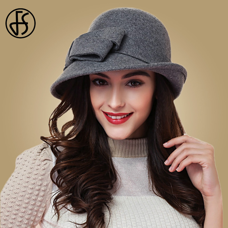 620c34139e06b FS Elegant Bowknot Ladies Wool Felt Bowler Black Red Fedora Hats For Women Wide  Brim Vintage Floppy Winter Church Cloche Hats