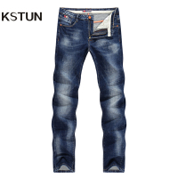 KSTUN Men Jeans Spring And Autumn Denim Pants Straight Slim Fit Elasticity Blue Business Casual Long