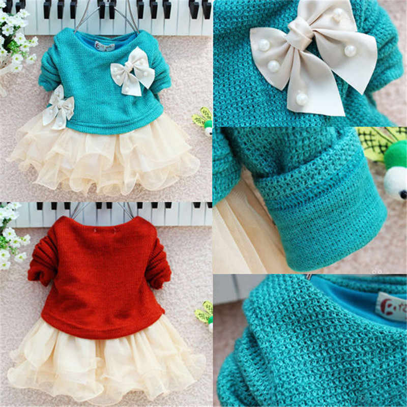 c5e261722c8c ... Newborn Infant Baby Girls Cute Princess Dress Knit Sweater Tops Bow  Lace Tulle Dresses Outfits XMAS