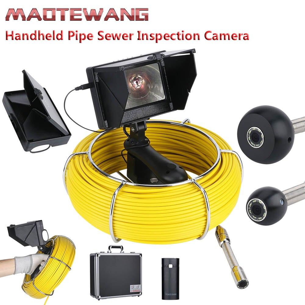 20M 4.3 polegada IP68 17mm Handheld Industrial Tubulação de Esgoto Inspeção Câmera de Vídeo À Prova D' Água Câmera De Inspeção De Esgoto Tubo de Drenagem sy