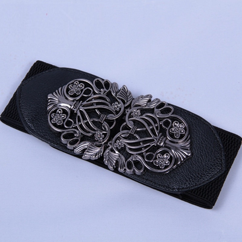 Retro Women'S Elastic   Belt   Vintage Buckle Leather Ladies Wide Corset   Belts   For Dress Clothing Cummerbunds Waist Riem Black Cheap