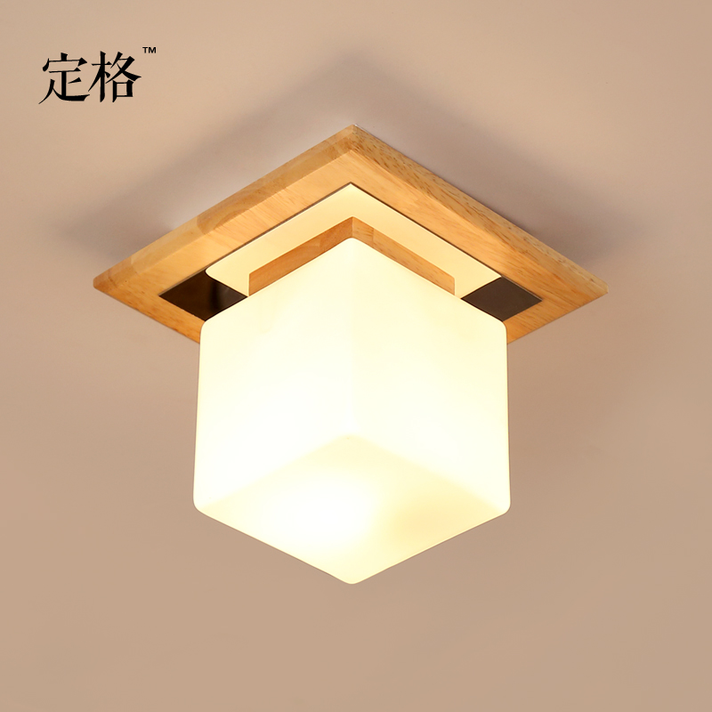 Single head wood ceiling entrance corridor balcony bedroom loft cloakroom square log glass Japanese lights loft style metal cage ceiling lights hotel corridor creative ceiling lamps restaurant aisle balcony kitchen for home lighting