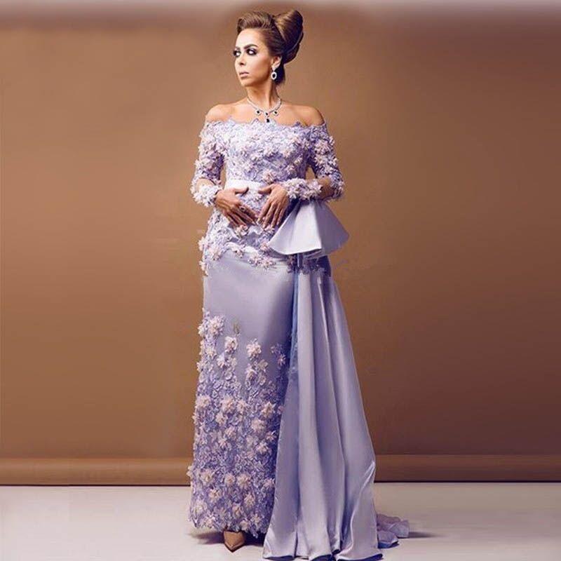 Arabic Evening Gowns Lavender Evening Dress Long Lace Elegant Prom ...