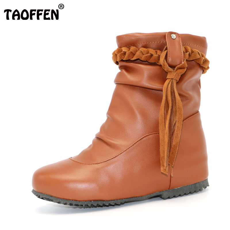 TAOFFEN Shoes Woman Mid Calf Boots Height Increasing Ladies Shoes Botas Feminina Tassels Women Boots Zapatos Mujer Size 30-52 taoffen size 30 52 russia women round toe height increasing mid calf boots woman cross strap warm fur winter half shoes footwear