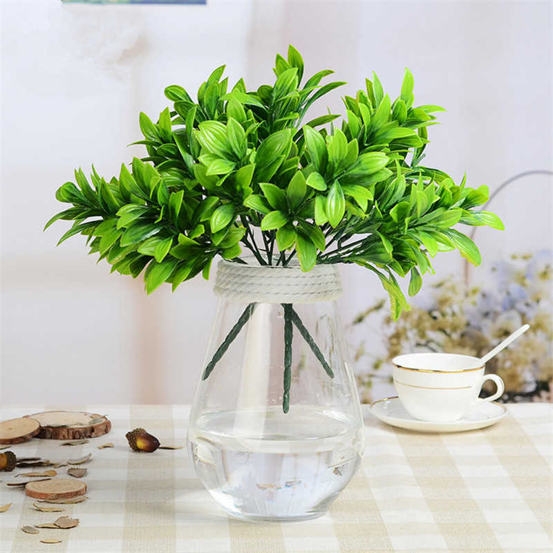 Plantas artificiales 6 tenedores plástico verde Holland hierba Flor de seda Artificial boda fiesta escritorio decoración hogar Decoración Accesorios