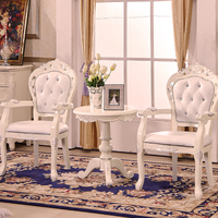European Style Solid Wood Dining Chair Leather Armchair Study Computer Chairs Negotiate Reception Chairs Hotel Club
