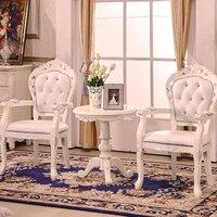 Европейский стиль твердый деревянный обеденный стул кожаное кресло исследование компьютерные стулья переговоры приемные стулья отель клу