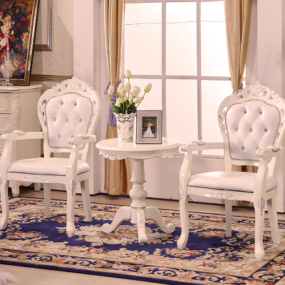 European Style Solid Wood Dining Chair Leather Armchair Study Computer Chairs Negotiate Reception Chairs Hotel Club Chairs