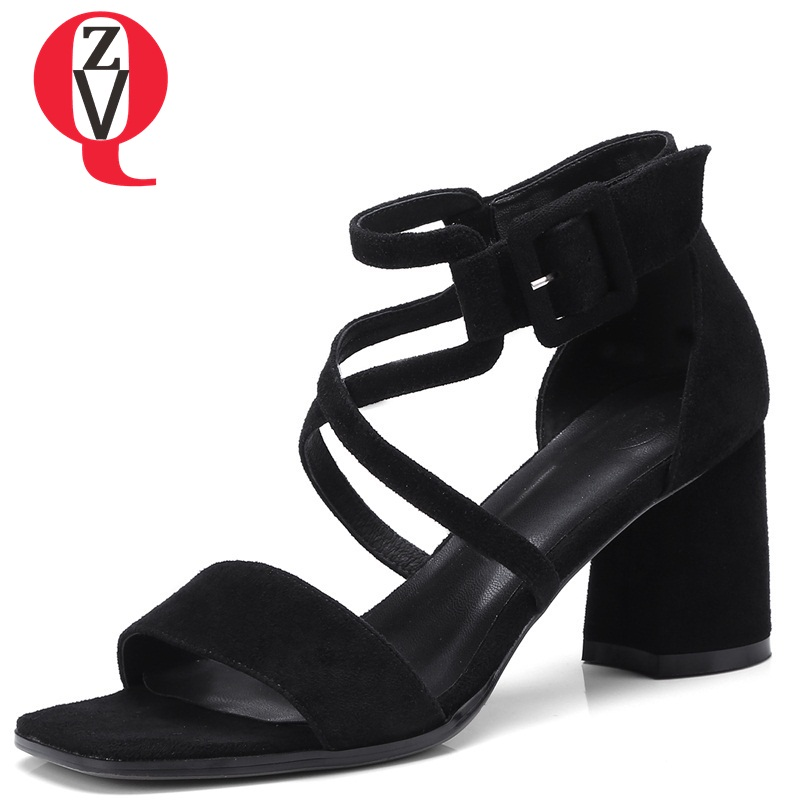 ZVQ 2018 summer new square toe fashion concise casual women sandals heel height 6.5 cm cross-tied square cover heel shoes xiaying smile summer woman sandals fashion women pumps square cover heel buckle strap bling casual concise student women shoes