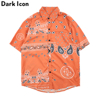Dark Icon Bandana Hawaii Shirt Men 2019 Summer Paisley Shirts Street Men's Shirt Short Sleeve Streetwear Shirts