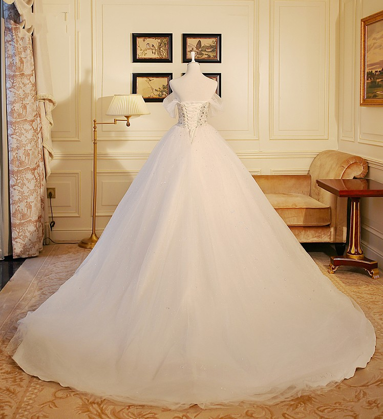 Vestido De Noiva Strapless Heavy Beads Bodice Luxury Wedding Dress Sequined Tulle Robe Mariage 2018 Gowns In Dresses From Weddings Events