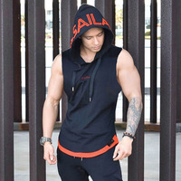 20Summer Style Mens Gyms Fitness Bodybuilding Hooded Tank Tops Vest Clothing Sleeveless Sweatshirt Male Fashion Brand