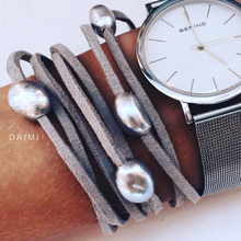 DAIMI 9-10mm Baroque Pearl Leather Bracelet, Pearl Bracelet,  Casual Style Summer Beach Jewelry, DIY Can be Long