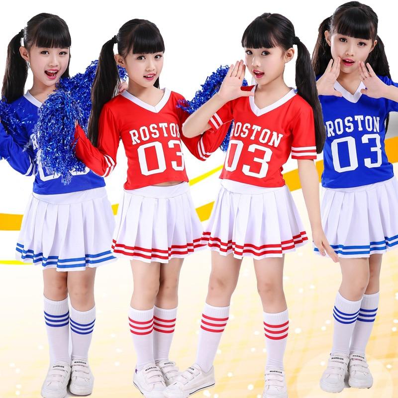 Tank Top  Cheerleader Cheer Leaders S 2 Piece Suit New Red Costume Blue Boys Girls Short Sleeves Dancing Costumes Children Suits
