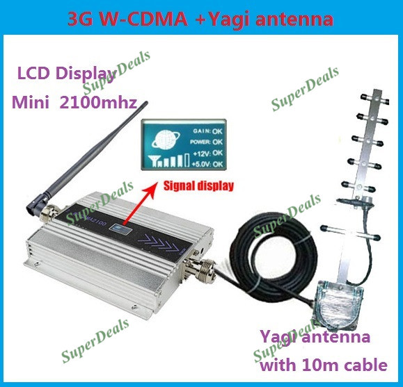 ZQTMAX 3G Repeater Cell Phone Mobile Signal Booster / Repeater / Amplifier UMTS WCDMA 2100 MHz + Yagi Antenna 10m Cable