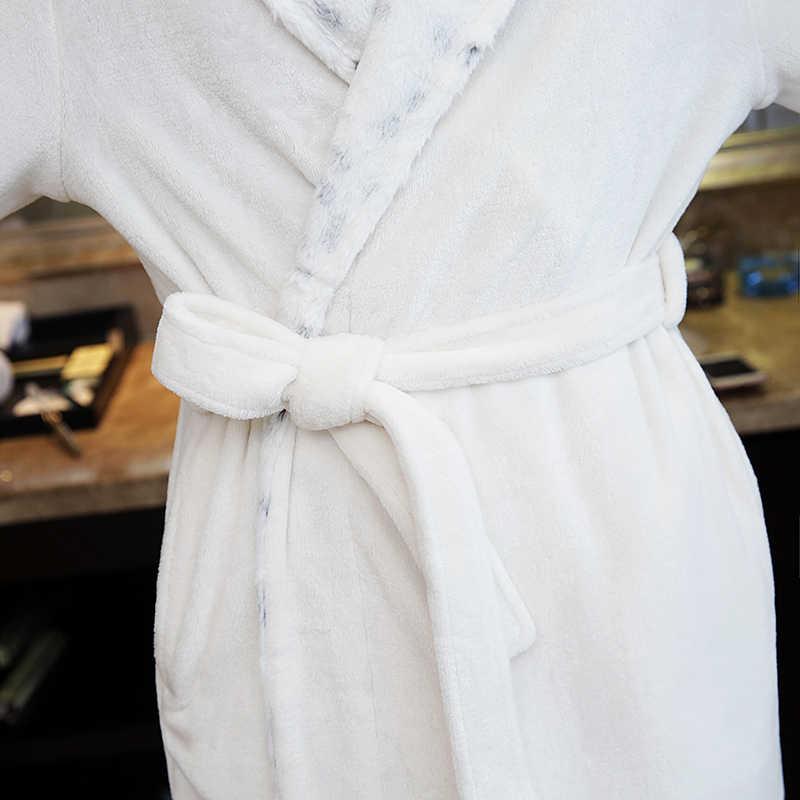 ホット販売メンズ極細毛皮ネックソフトフランネルロングバスローブ男性冬暖かい着物バスローブメンズドレッシングガウン男性ローブ