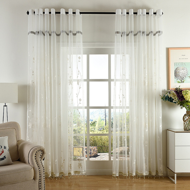 7a9c00a3059 Embroidered White Tulle Curtains For Living Room CN05 Voile Sheer Curtains  For Window Bedroom Lace Curtains Fabrics Drapes
