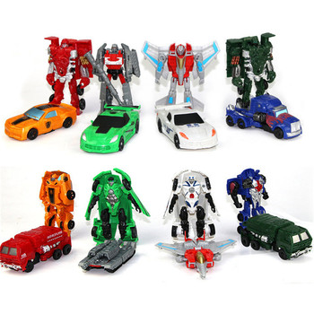 White Red 10CM Transformation Cars Kid Classic Robot Car Toys For Children Action & Toy Figures Plastic Education Boy'S Gift New