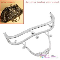 Metal Frame Kiss Clasp Arch For Purse Bag Silver Tone Ball 21cm X 9cm Can Open