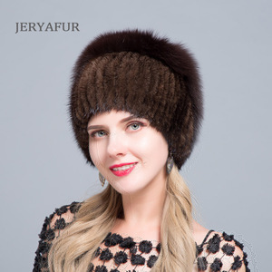 Image 4 - JERYAFUR New Fashion Winter Hats For Women Real Mink Fur Hat Female Patchwork Fox Fur Mix Color Internal Knitting Beanies Warm