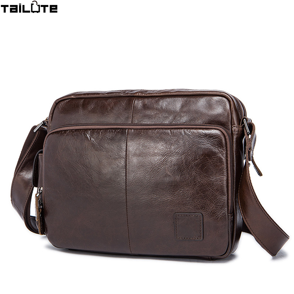 TAILUTE New Brand Genuine Leather Men messenger Bag Vintage Cowhide Crossbody Bags for man bolso shoulder bags mens