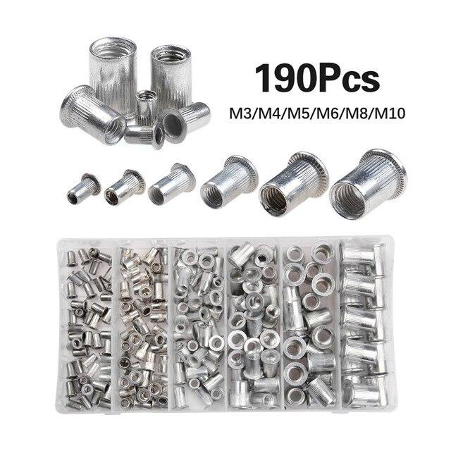 190 sztuk/partia stopu aluminium Rivnut płaskiej głowy gwintowane wstaw Cap M3 M4 M5 M6 M8 M10 nit nakrętka zestaw z pudełkiem