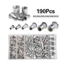 190Pcs/lot Aluminum Alloy Rivnut Flat Head Threaded Insert Cap M3 M4 M5 M6 M8 M10 Rivet Nut Set With Box