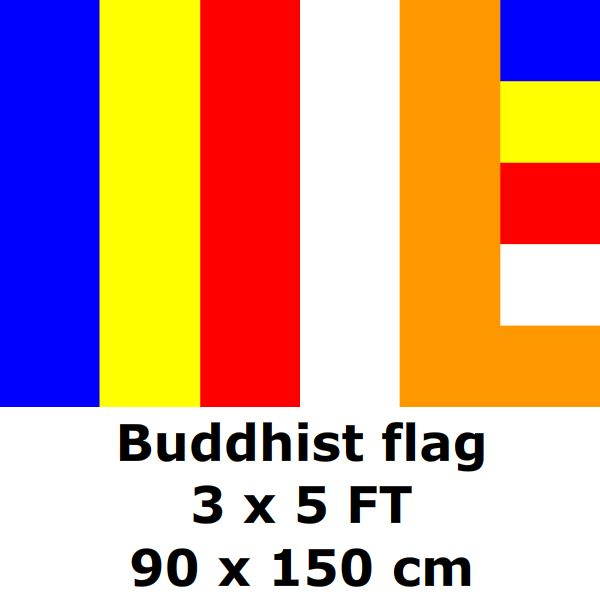 Buddhist Flag 90 X 150 Cm 100d Polyester Buddhist Symbol Buddhism