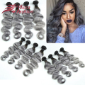 Silver Grey Ombre Human Hair Extensions 4Pcs Ombre Gray Brazilian Virgin Hair Body Wave Ombre Dark Roots Grey Hair Weave