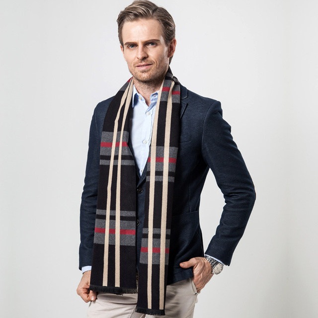 Classical Men Wool Luxury Brand Scarf British Plaid Pattern Winter Scarves Thick Winter Bandana 180x30 cm