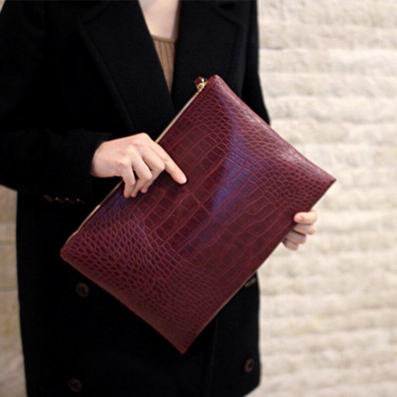 Fashion crocodile grain women's clutch bag leather women envelope bag clutch evening bag female Clutches Handbag