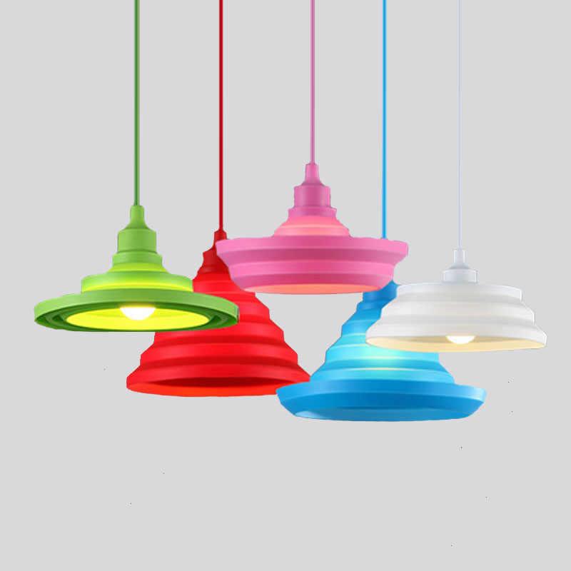 現代のカラフルなペンダントランプバーレストラン 9 色シリコーンE27 ペンダントライトホルダーと 100 センチメートルコード装飾照明