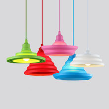 Modern Colorful Pendant Lamps Bar Restaurant 9 Colors Silicone E27 Pendant Lights Holder with 100cm cord Decoration lighting(China)