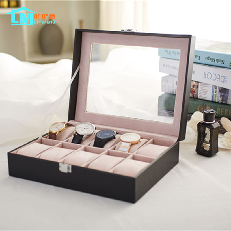LIYIMENG Bracelet Organizer Necklace Display Jewelry Storage Watch Collecting Box Home Desktop Casket Leather Case Organization