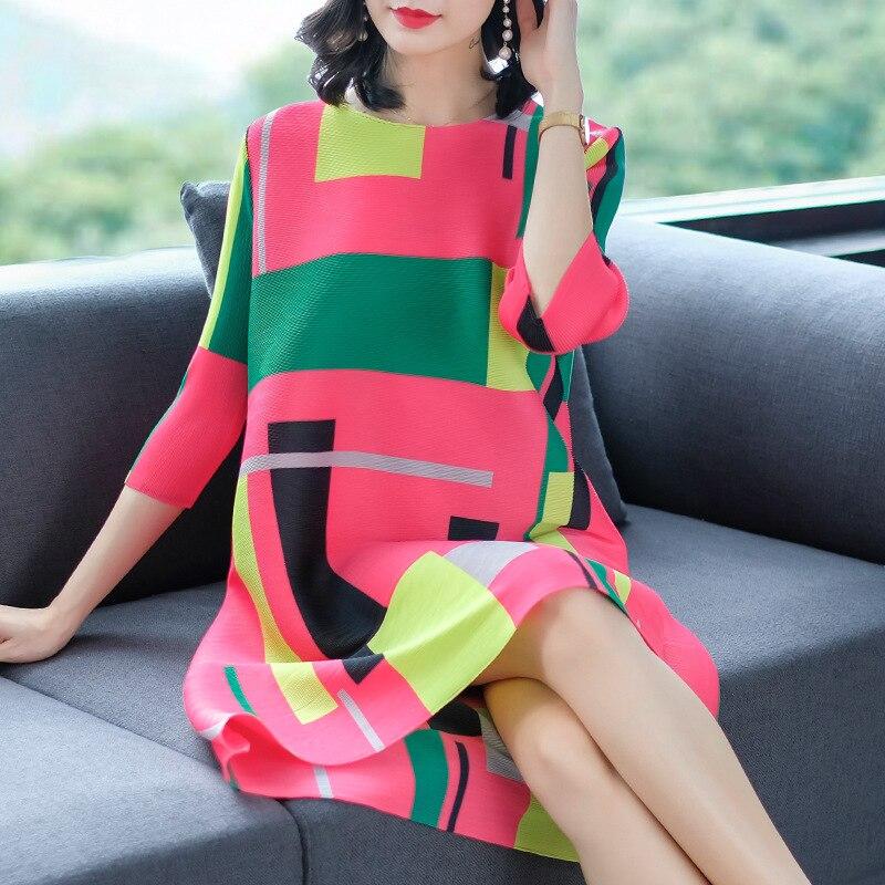 Lâche De Marée Femmes Robes Mode Pink Grande Printemps Nouvelle Populaire red Impression white Plissée Taille qT1Bn0