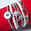 5pcs/lot handmade infinity Tower Heart Snap leather Bracelets Fit Snaps Buttons 18mm giger snap jewelry