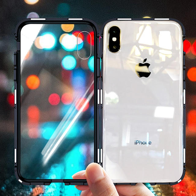 d6b2758183c OLAF 360 Magnetic Adsorption Case for iPhone X 8 Plus 7 6 6S + Tempered  Glass Back Cover for iPhone 7 8 6 6S Plus X Hard Case