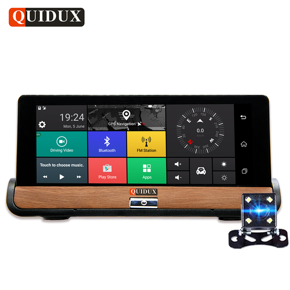 QUIDUX 6.86 IPS 4G Android Car DVR 1080P Dual Lens Dash Camera GPS Navigation ADAS Full HD Video Camera Recorder 1G RAM 16G ROM e ace car dvr android touch gps navigation rearview mirror bluetooth fm dual lens wifi dash cam full hd 1080p video recorder