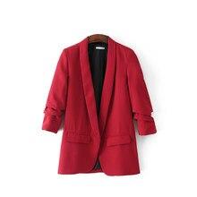 5 colores 2018 mujeres Blazer rojo para oficina señoras estilo OL elegante  clásico femenino Rosa abrigo mujer negro trabajo-desg. 740964b0117e