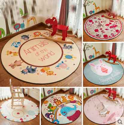 Thick Kid Room Carpet Round Cartoon Child Floor Mat Yogo and Prayer Carpet Baby blanket For